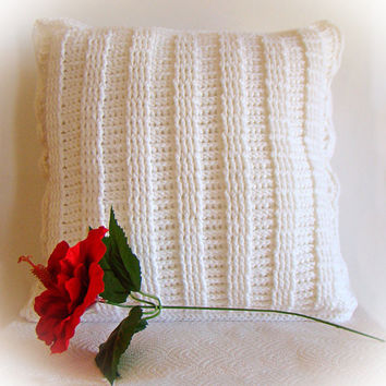 Crochet Pillow Cover Soft White Ladder Stitch Textured 14 x 14 Removable Made to Order