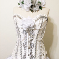 Beauty in wonderland rave corset, withe corset, rave attire, rave outfit, edc