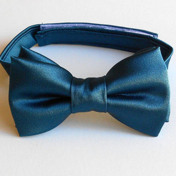 Dark Teal Bowtie - Satin Bowtie - Infant, Toddler, Boy