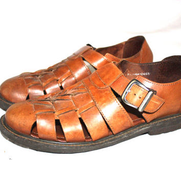 FLORSHEIM Huarache Mens brown leather fisherman sandals sz 9.5M