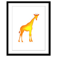 Mosaic Giraffe, Kid's Art, Printable Poster, Yellow Room, Nursery Art, Wall Art