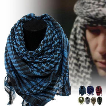 Military Windproof Winter Scarf Men Muslim Hijab Thin Shemagh Tactical Shawl Arabic Keffiyeh Scarves 100% Cotton