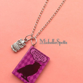 Sale! Harry Potter inspired Necklace Owl Necklace Chain Book Necklace Owls Pendants Books Charms Magical Creatures Fantasy Teacher Gift