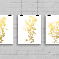 Alice in Wonderland Faux Gold Foil Art Print Set - Home Decor - Dorm Decor - Office Decor - Set of 3