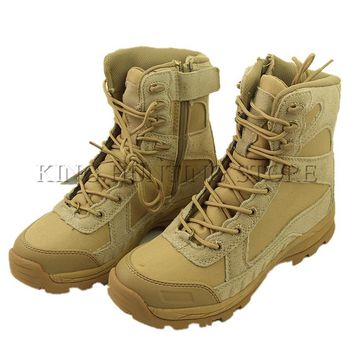 Outdoor Hiking Fishing Hunting Military Tactical Army Boots New Type Zipper Leather Boot Breathable Shoes EUR Size 39-45