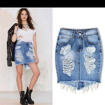 Mini Denim Skirt Women 2017 Summer Casual Split High Waist Short Jeans Skirt Sexy Pencil Skirts Womens Jupe Faldas TOP088