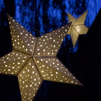 Handmade Paper Star Lantern with Tiny Stars - special occasion lighting, party decoration, luminary, nursery, wedding, reception, holiday