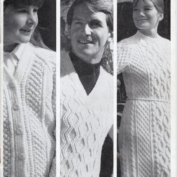 1960's Original Vintage Knitting Pattern - Sirdar 9925 - Family Aran Hand Knits - Hat, Sweater Dress, Jumpers, Cardigans, Slippers
