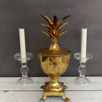 Brass Pineapple/ Pineapple Decor/ Pineapple Svg/ Pineapple Container/ Vintage Pineapple/ Pineapple Candle Holder/ Hollywood Regency