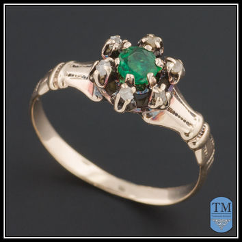 Antique 12k Gold Victorian Emerald & Diamond Ring - Size 4