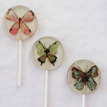 3 Cotton Candy Flavored Marzipan Butterfly Lollipops