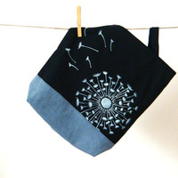 Black grey tote bag , white dandelion in the wind hand made and hand painted