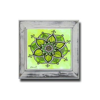 Green Mandala Energy Painting - Sacred Geometry Art PRINT - Unique Anniversary gift - Floral Wall Decor - Good Luck Art - Kids room decor