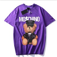 Moschino Fashion New Summer Letter Bear Print Women Men Top T-Shirt Purple