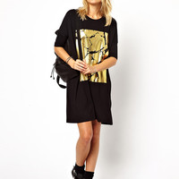 Black Gold Print Short Sleeve Shirt Dress