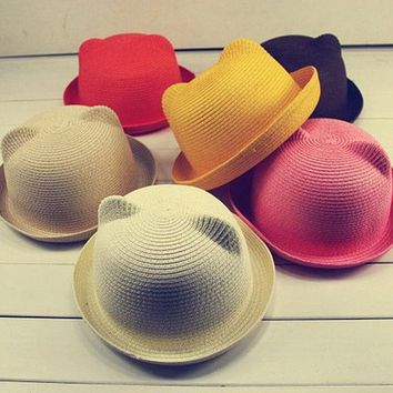 DCCKL3Z Fashion Ears Straw Hats Baby Hats For Girls Bucket Hat Boys Cap Children Sun Summer Cap Kids Solid Beach Panama Caps