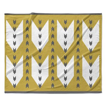 "Pellerina Design ""Golden Aztec"" Yellow White Fleece Throw Blanket"