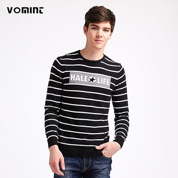 VOMINT 2017 Mens Sweaters Pullovers Knit Slim Regular Striped Letter Pattern Basic Sweaters Youth Campus H6PI6353