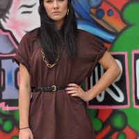 Russet Oversize Brown Orange Specked T shirt Dress top 1627 from Gone Retro