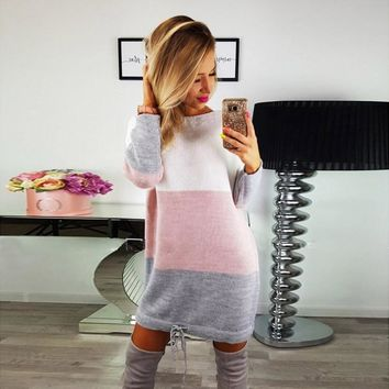 O Collar Knit Party Ladies Casual Long Sleeve Dress