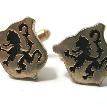Hickok Vintage Cufflinks Cuff Links Lion Rampant Old English Mens Formal Jewelry Gold Tone Black Painted Shield Emblem Crest