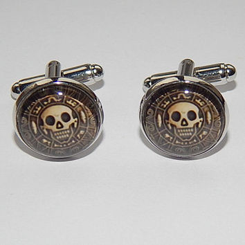 Pirates of the caribbean logo cufflinks, Pirate skull jewelry, Pirate cufflinks, Men's cufflinks, Pirate simbol, Pirate emblem, wedding