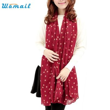 Elegant Nobility New Stylish Girl Long Soft Silk Chiffon Scarf Wrap Polka Dot Shawls and Scarve For Women