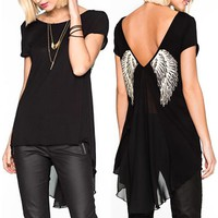 Women Unique Angel Wings Back Printing Short Sleeves T-Shirts Back Side V-Necklace Hollow Long T Shirt