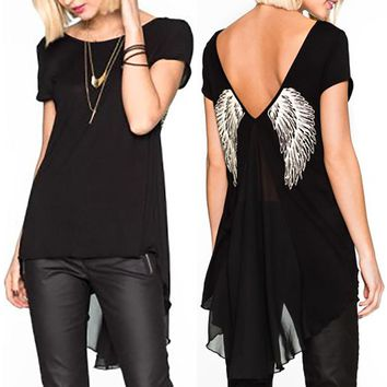 Women Unique Angel Wings Back Printing Short Sleeves T-Shirts Back Side Hollow Long Women's T Shirt