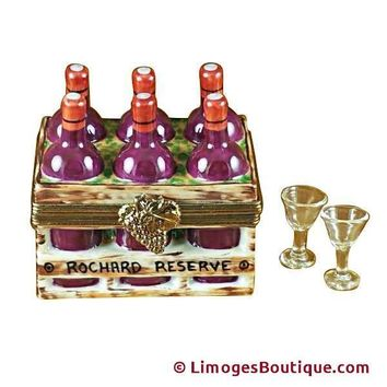 WINE BOTTLES IN CRATE WITH TWO GLASSES LIMOGES BOX