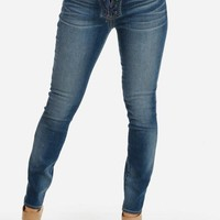 Blue Washed Lace-Up Mid Rise Skinny Jeans