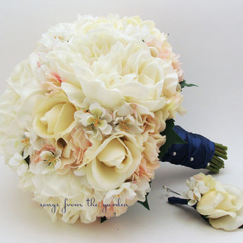 Bridal Bouquet Real Touch Peonies Real Touch Hydrangea Silk Cherry Blossoms Real Touch Roses Navy Ribbon with Groom's Boutonniere Ivory Pink