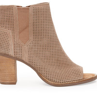 TOMS Stucco Suede Perforated Women's Majorca Peep Toe Booties Brown