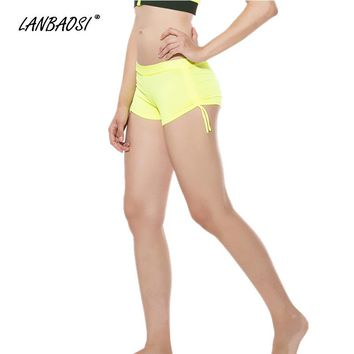 LANBAOSI Women's YOGA Fitness Shorts With Adjustable Ties Spandex Breathable Quick Dry Hot Sexy Yoga Short Pants Fitness Bottoms