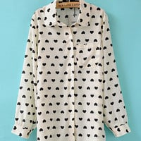 Beige Heart Print Shirt Collar Cuff Sleeve Lapel Blouse