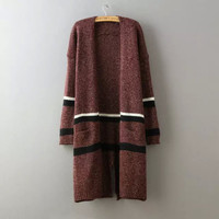 Stripe None Button Long-Sleeve Knitted Long Cardigan
