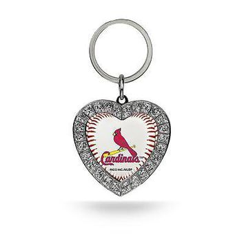 Rico Industries MLB St. Louis Cardinals Rhinestone Heart Keychain