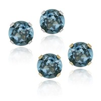 2.1ct London Blue Topaz 6mm Stud Earrings in 14k White or Yellow Gold