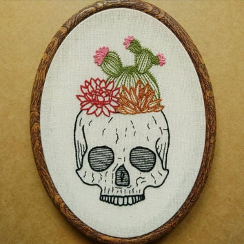 Cactus and Succulent Skull Planter Hand Embroidery Pattern (succulent embroidery - cactus embroidery) (PDF modern embroidery pattern)