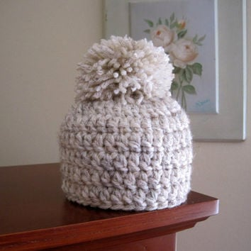 Crochet Baby Hat Baby Beanie Pom Pom Hat Newborn by Monarchdancer