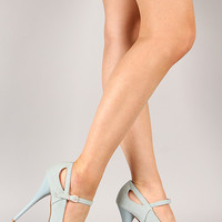Qupid Neutral-02 Denim Mary Jane Stiletto Platform Pump