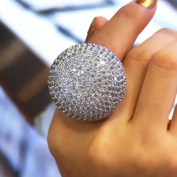 Big Size 6-10 11 12 13 Large Ball Crown Bright Rings For Women Full Dazzling Noble Ring Fashion Jewelry 2017