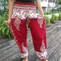 Exotic Red Floral Art Design Print Trousers Yoga Pants Hippie Baggy Boho Oriental Clothing Gypsy Ethnic Tribal Cloth Beach Summer Elegant