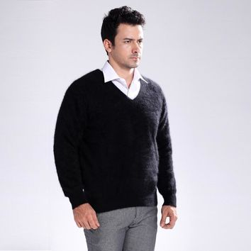 New genuine mink cashmere sweater men pure 100% cashmere sweater pullovers mink sweater free shipping Wholesale price S109