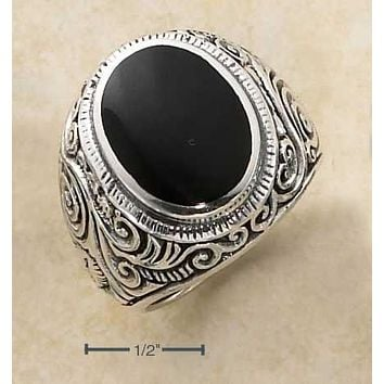 Sterling Silver Ring:  Mens Oval Simulated Onyx Tapered Scrolled Floral Band Ring