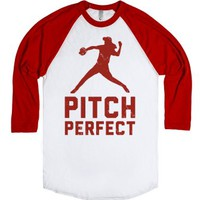 Pitch Perfect (Baseball Tee)-Unisex White/Red T-Shirt