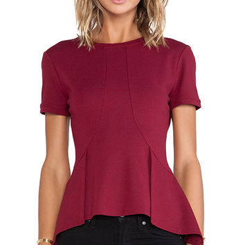 BCBGMAXAZRIA Scarlet Peplum Top in Burgundy