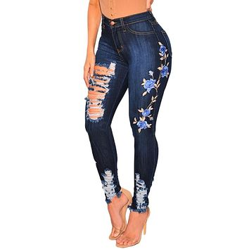 Dark Denim Embroidered Floral Destroyed High Waist Skinny Jeans