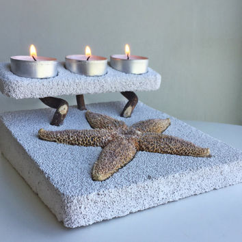Natural Home Decor/Starfish Candle Holder for 3 candles / Unique Tea Light Candle Holder/ Natural Pumice Stone Gift/ Large Starfish Decor