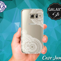 White Henna Pattern Floral Line Art Hipster Boho Cute Case for Clear Rubber Samsung Galaxy S6 and Samsung Galaxy S6 Edge Clear Cover